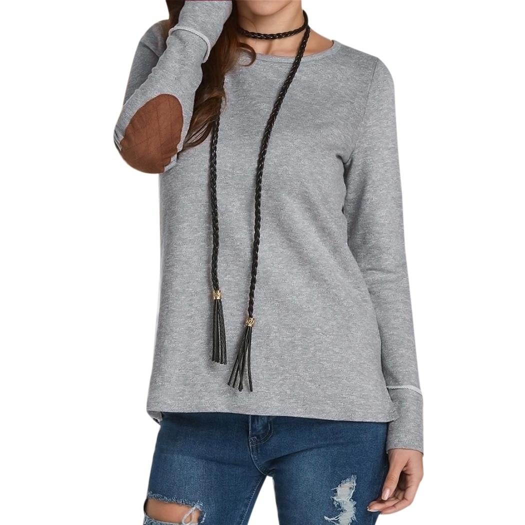 Fashion Women Back Button T Shirt Patchwork Long Sleeve O
