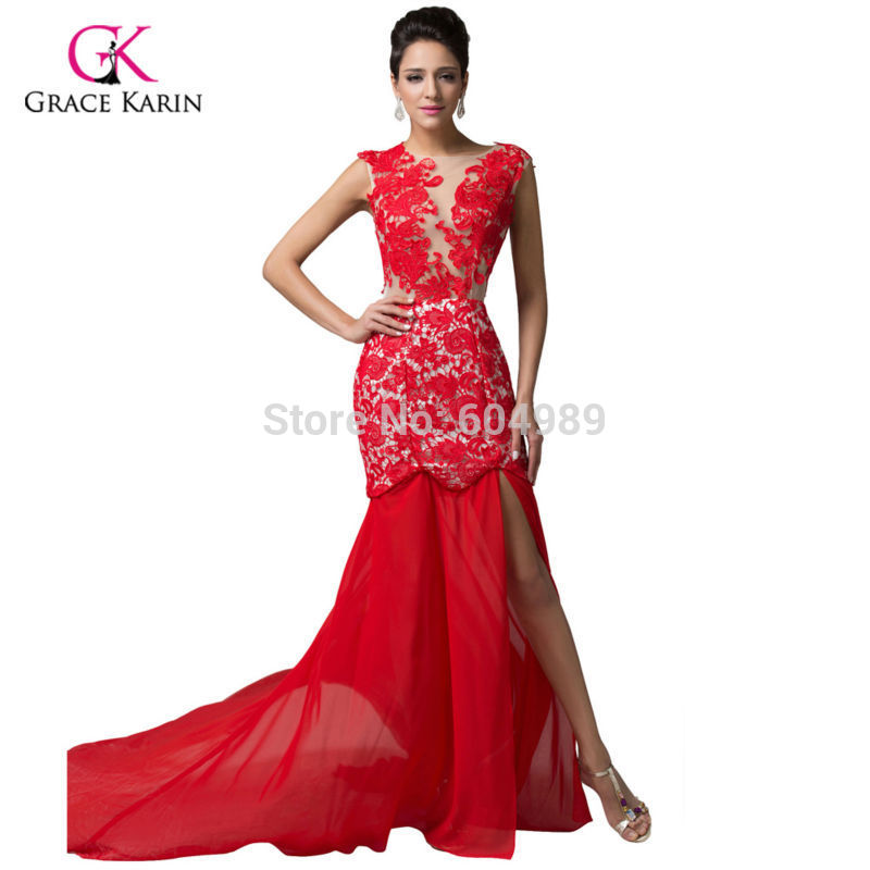 Amazing Slit Design Red Lace Applique Mermaid Prom Dresses Women ...