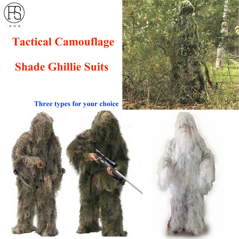 Military Camouflage Ghillie Suit Woodland Grass Hay Style Paintball Leaf Jungle Sniper Clothes Hunting Tactical Shade Clothing hunting woodland camouflage sniper ghillie suit set