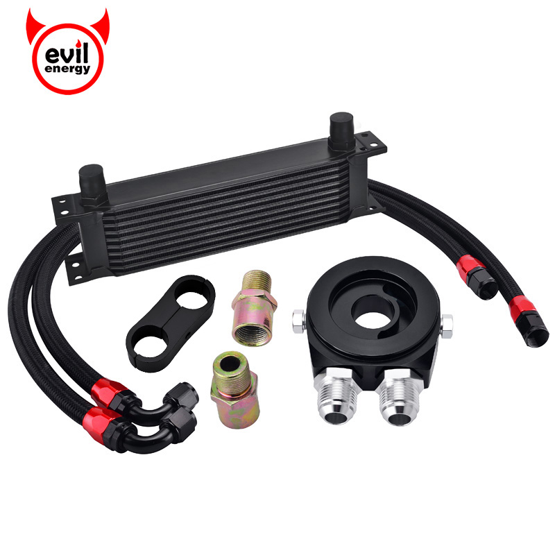 evil energy 10Row AN10 Engine Oil Cooler Kit Oil Filter Cooler Sandwich Swivel Oil Hose Line