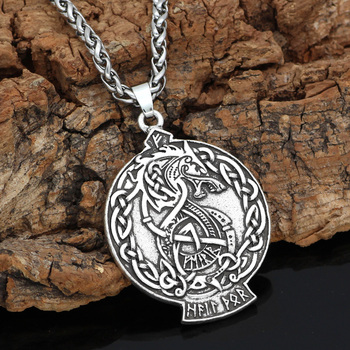 Nordic Dragon Scandinavian Knot Rune Amulet Pendant Necklace  Viking Necklace