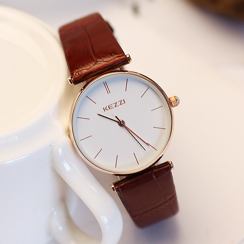 KEZZI 2017 New Arrived Women Fashion Watch Lady Dress Wristwatches Quartz Clocks Women Leather Strap Watches Relogio Feminino