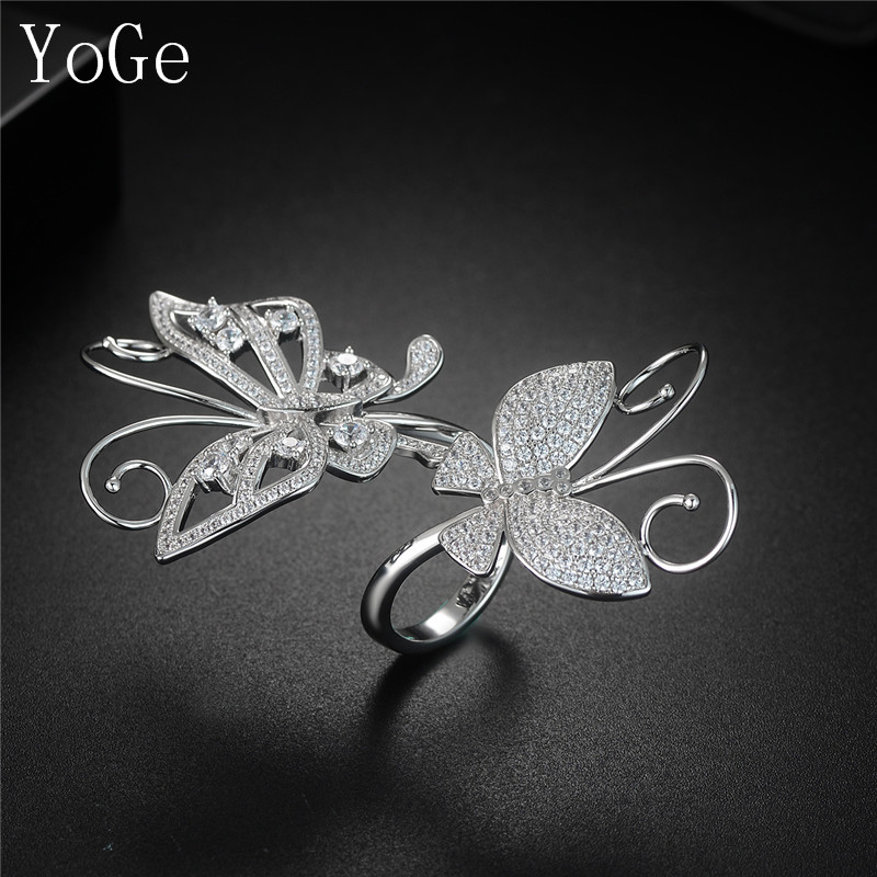 YoGe R0560  Famous design AAA cubic zirconia micro pave setting  butterfly shaped ring for women  beautiful