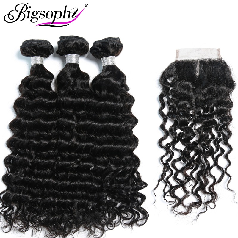 Bigsophy Mongolian Deep Wave Hair 3 Bundles With Lace Closure Baby Hair Free/Middle/Three Part 4pcs/Lot Human 100% Remy Hair