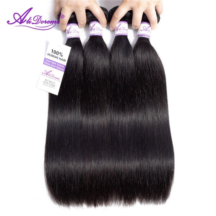 Braziliaanse Steil Haar Bundels 8-28 inch 100% Alidoremi Menselijk Haar Weave Niet Remy Haar Natuurlijke Kleur Kan Kopen 1/3/4 stks