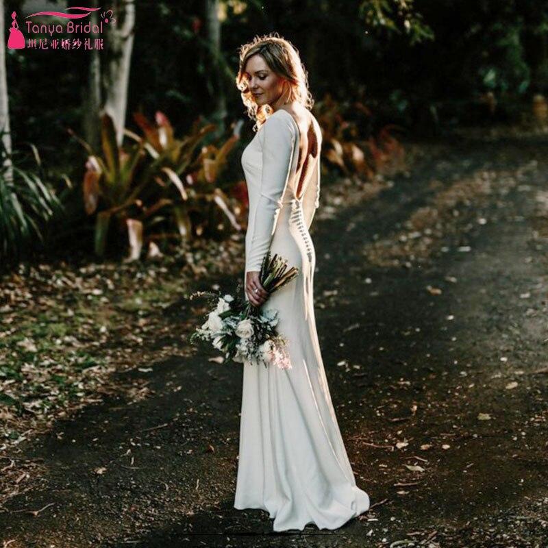 Ivory Mermaid Simple Wedding Dresses 2018 Fashion Jewel Long Sleeve Backless Bridal Beach Bohemian Gowns ZW007