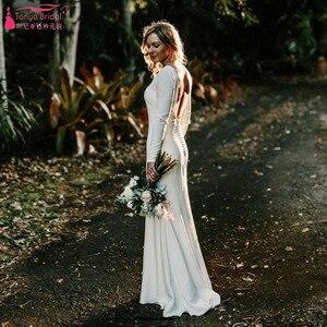 Image 1 - Marfim sereia simples vestidos de casamento 2021 moda jóia manga longa sem costas nupcial praia boêmia vestidos zw007