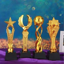 Creative Resin Trophy Home Decoration Supplies Gold-plated School Sports Resin Trophy Company Annual Awards Supplies tortuous star shaped metal trophy customized logo or words to crystal base video music awards grammy trophy for award ceremony