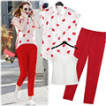 New Fashion Women Summer Set Clothing Lips Design Short-Sleeved Chiffon Shirt + Red Linen Pants Capris Clothing 2 Piece Sets