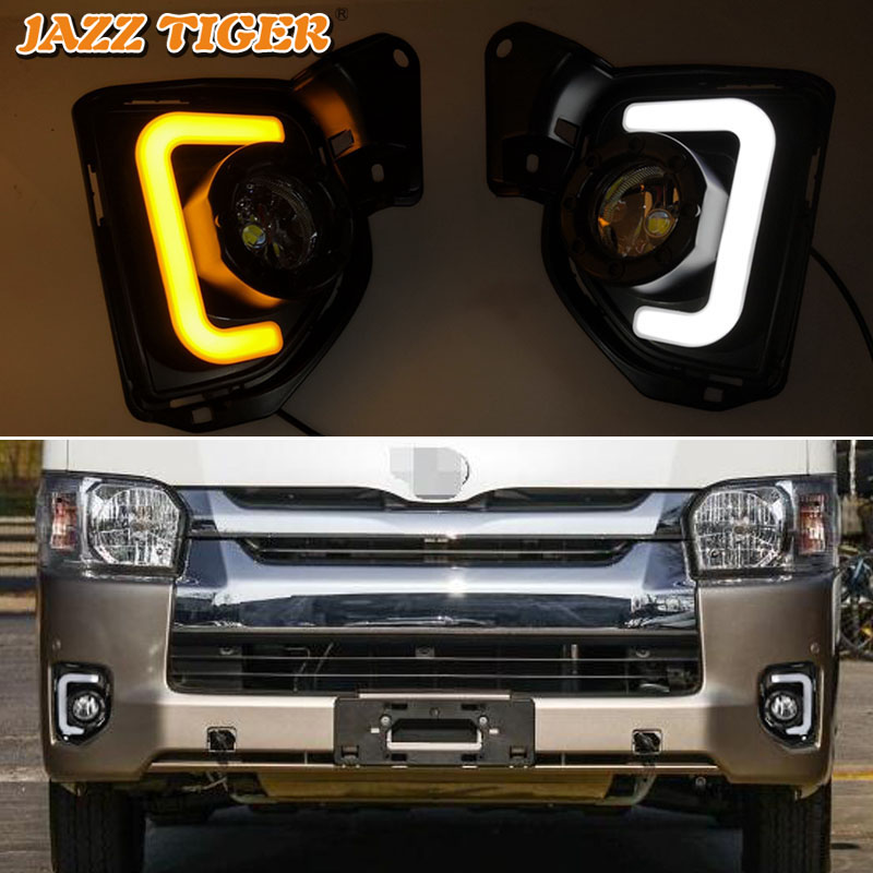2PCS LED For Toyota Hiace 2014 2015 2016 2017 2018 With Turn Signal 12V ABS Car Lamp LED DRL LED Daytime Running Light