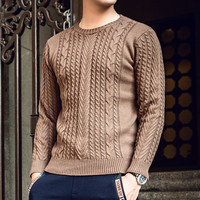 2018 new autumn and winter men's sweater thickening round neck casual shirt loose warm large size youth pullover sweater