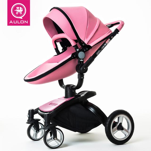 AULON versión de actualización 2017 cochecitos de bebé de bebé de cuero del coche