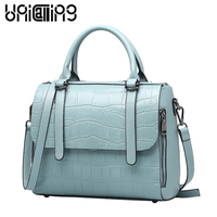 European And American Style Crocodile Grain Genuine Leather Women Handbag Fashion Mi Ni Shoulder Bags