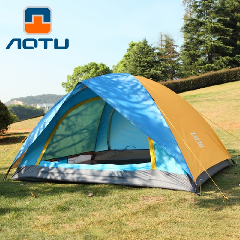 AOTU 2 Person Tents Double Layer Waterproof Windproof Outdoor Tent for Hiking Fishing Hunting Beach Picnic Party Camping Tents 3 4 person tents rainproof waterproof outdoor camping tent tourist tent for hunting picnic party camping