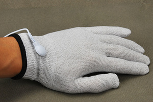 Image 2 - Electrical Shock Silver Fiber Therapy Massage Electrode Glove Electro Shock Gloves Electricity Conductive Gloves Medical Sex Toy