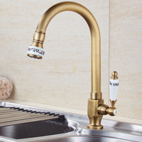Kitchen Faucet Antique Brass Ceramic Kitchen Faucet Single Cold Water Faucet Deck Mounted Swivel Sink Tap Single Handle Torneira