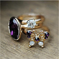 Ocean 3Pc/Set Charm Butterfly Shiny Crystal ring vintage gem oval rhinestone and hollow out butterfly finger women ring 3pcs/SET