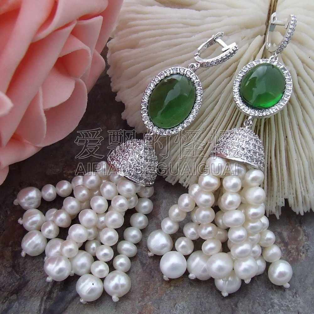 E032514 4-5MM 7-8MM White Pearl Green Crystal Earrings CZ Fitting