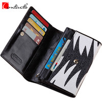 CONTACT S Genuine Leather Top Brand Fashion Women Wallets Women Purses Short Wallet With Card Holders