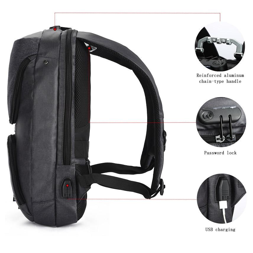 OZUKO 15.6 pouces sac à dos pour ordinateur portable hommes Anti-vol USB Charge sac à dos pour adolescent étanche voyage sac à dos homme sac d'école Mochila - 5