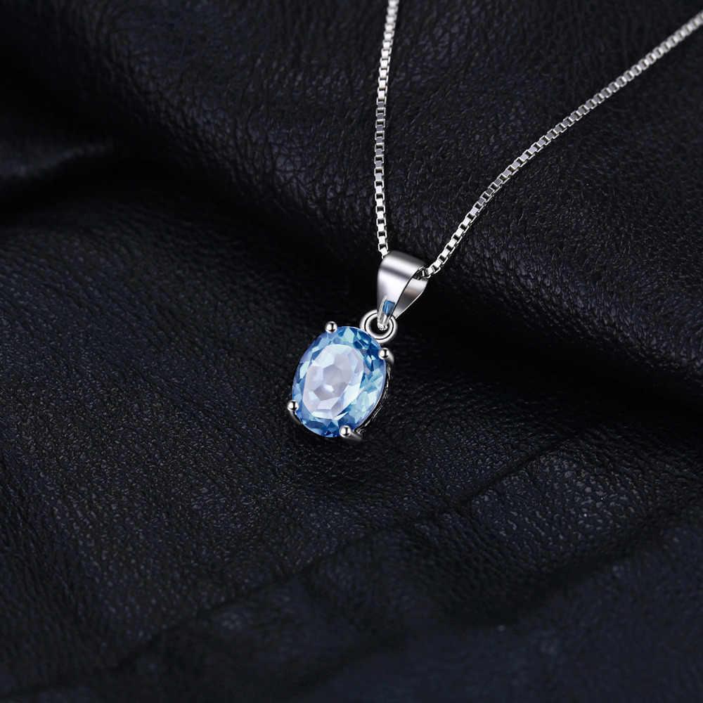 JewelryPalace Topázio Azul Natural Pingente de Colar de Prata Esterlina 925 Pedras Preciosas Gargantilha Declaração Mulheres Col