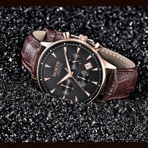 Image 5 - גברים שעון עסקי יוקרה אופנה לוח שנה ספורט מקרית זכר קוורץ שעוני יד עור אמיתי תכליתי גברים של מתנה שעונים