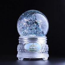 Бесплатная доставка все кристалл течет с лампой хрустальный шар музыкальная шкатулка Карусель свет плавающей снег день Святого Валентина подарки