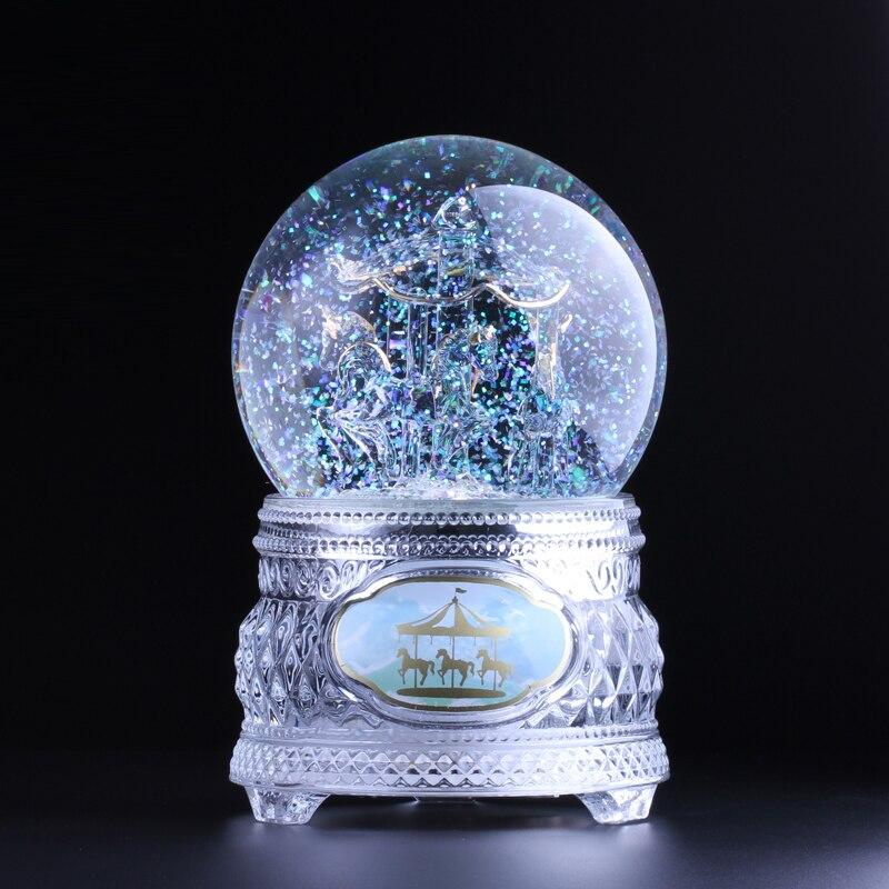 Trasporto libero Tutto di cristallo che scorre con La lampada della Luce di cristallo di music box della sfera di UN carosello galleggiante neve giorno di san valentino regali
