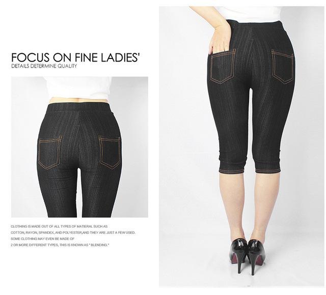 Female Legging Jeans Women Plus Size Faux Jeans Leather Calf-Length Cotton Jeans Pants XL,XXXL 5XL For Women