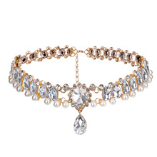 Anvia New Arrival 2019 High Quality Alloy Full Crystal Pearl Necklace Female Choker Chain Luxury Celebrity Style For Women