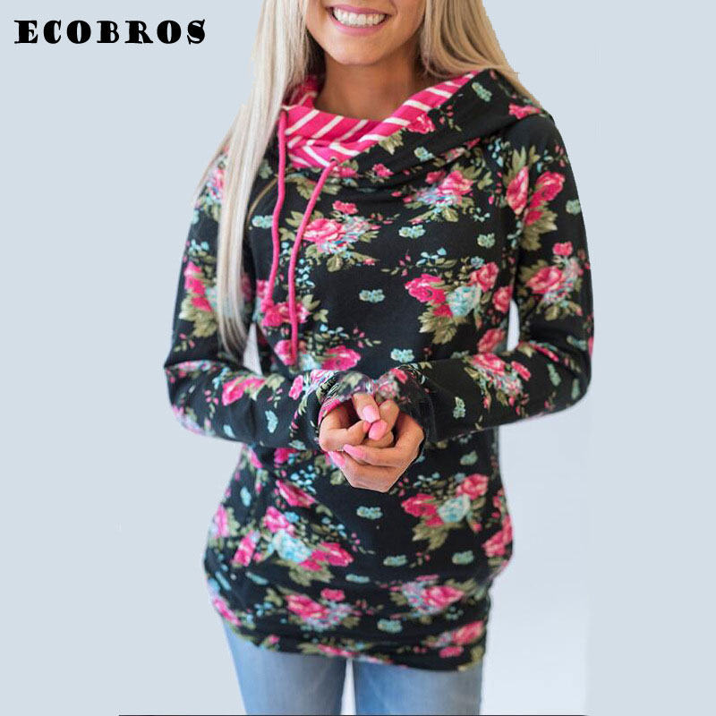 ECOBROS Autumn Winter Woman Sweatshirt hoodie with hat Casual slim printed zipper pullovers hoodies plus size