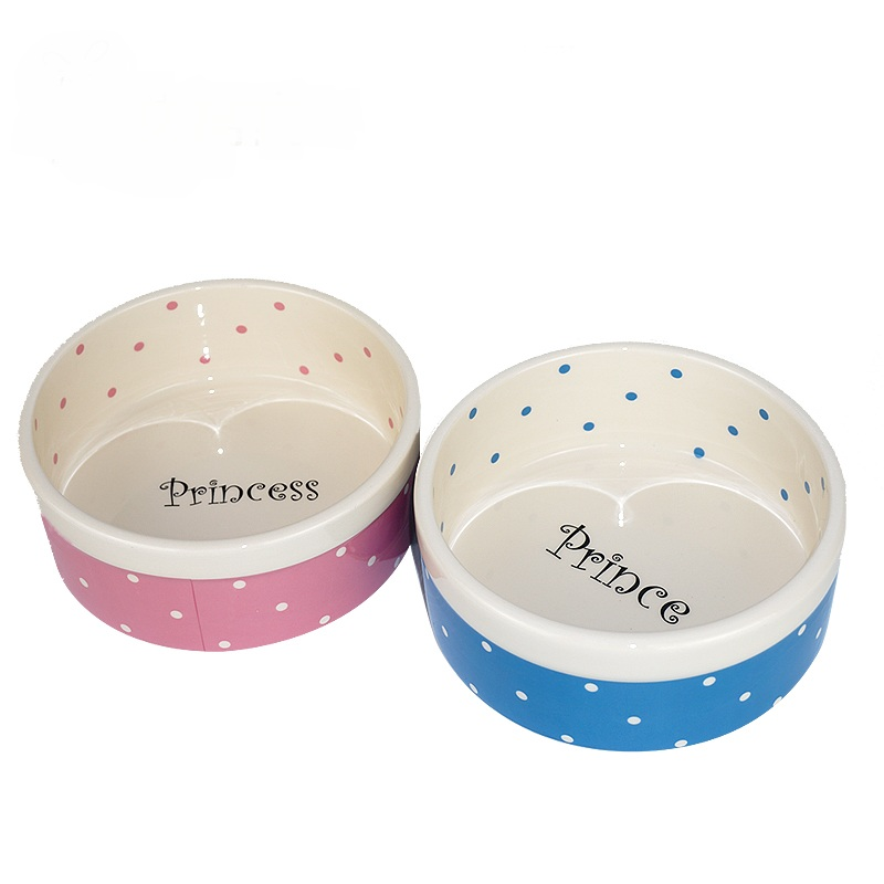 High-grade ceramic wave point prince and princess style cat dog bowl bowl