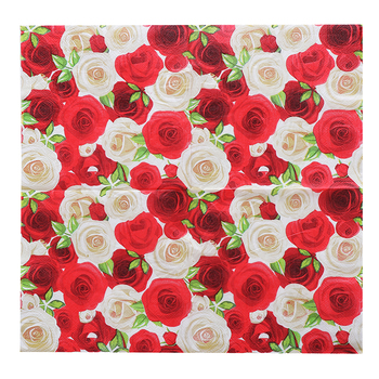 20 vintage napkins paper red pink white rose tissue printed flower decoupage wedding party hotel decor serviettes handkerchief rose