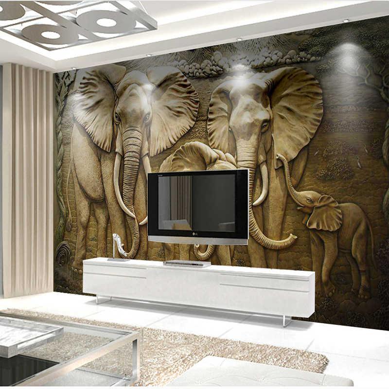 Европейский Стиль 3D стереоскопический Золотой рельеф слон стены тканью Гостиная диван ТВ фрески украшения дома фоне обоев