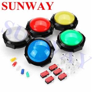 2 Pçs/lote 12 V 100mm 5 cores Jumbo Dome Máquina De Arcade Iluminado levou Botão Interruptor Interruptores de Pressão Controler 5 V/12 V