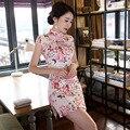 Short Cheongsams Women Sexy Summer Short Sleeve Peony Bouquet Print Polyester Qipao 2017 Newest Cheap Dress Qi Pao