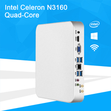 Barebones Mini PC Intel Celeron N3160 Quad-Core Windows 10 Thin Client Mini Desktop PC Gaming HDMI VGA WiFi HTPC TV BOX