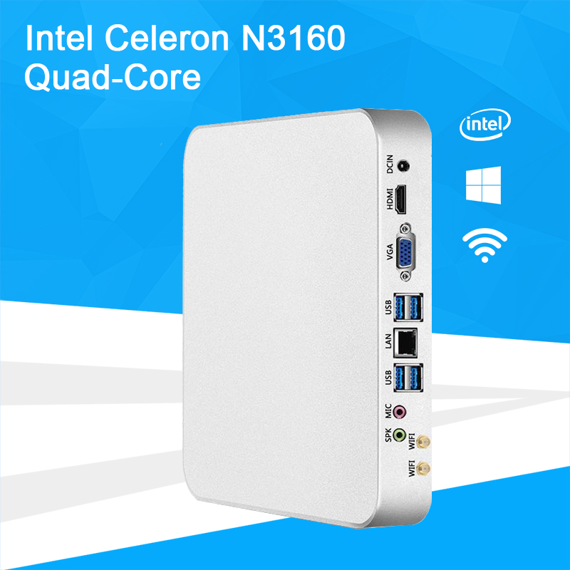 Barebone Mini PC Intel Celeron N3160 Quad-Core Windows 10 Thin Client Mini PC Desktop Gaming HDMI VGA WiFi HTPC TV BOX