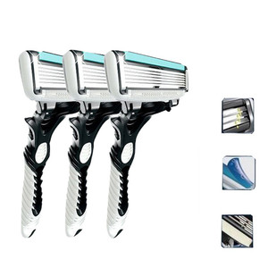 Image 2 - 1 قطعة/3 قطعة الرجال شفرة حلاقة الحلاقة الكاسيت ، ماكينة حلاقة كهربائية DORCO Pace 6 طبقة مستقيم الحلاقة اللحية آلة