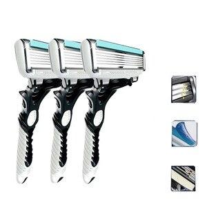 Image 2 - Lâmina de barbear masculina, 1 peça/3 peças barbeador elétrico dorco pace 6 camadas barbeador reto máquina de barba