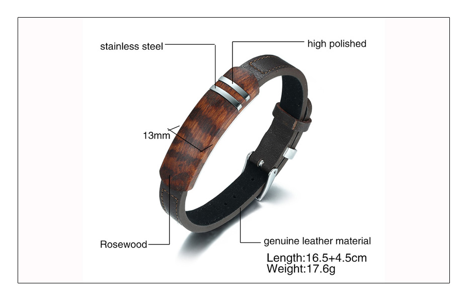 Meaeguet Brown Genuine Leather Charm Bracelets Men Top Quality Rosewood Plaque Bracelet Stainless Steel Jewelry 13mm Wide (5)