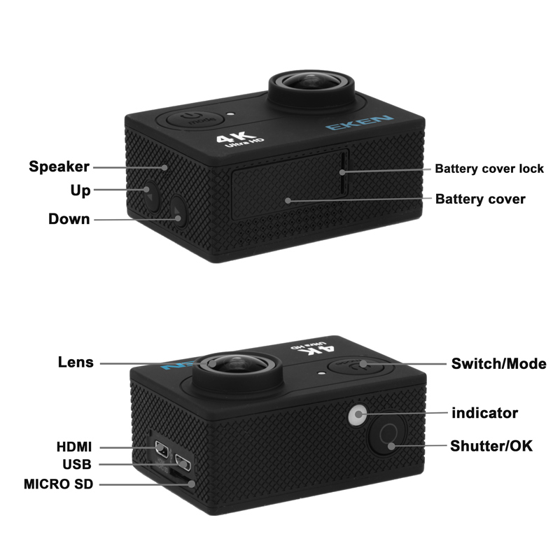 EKEN H9R Ultra HD 4K WiFi caméra d'action avec 2.4G télécommande 2.0 écran 30M étanche sport mini caméra - 3