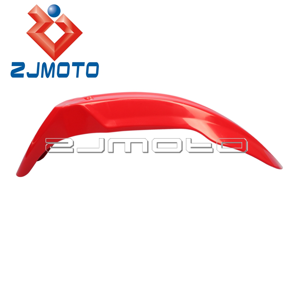ZJMOTO Universal Red ABS <font><b>Plastic</b></font> Motocross Off Road Dirt Bike Front Fender Front Mudguards For Honda XR <font><b>CRF</b></font> 230 250 <font><b>450</b></font> 650 image