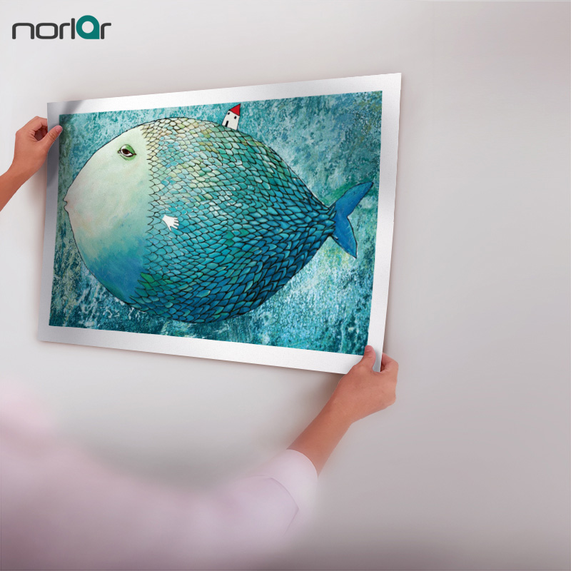 HD Printed Abstract Cartoon Big Fish And Little House Oil Painting Frameless Picture Painting Wall Art Picture Home Decor