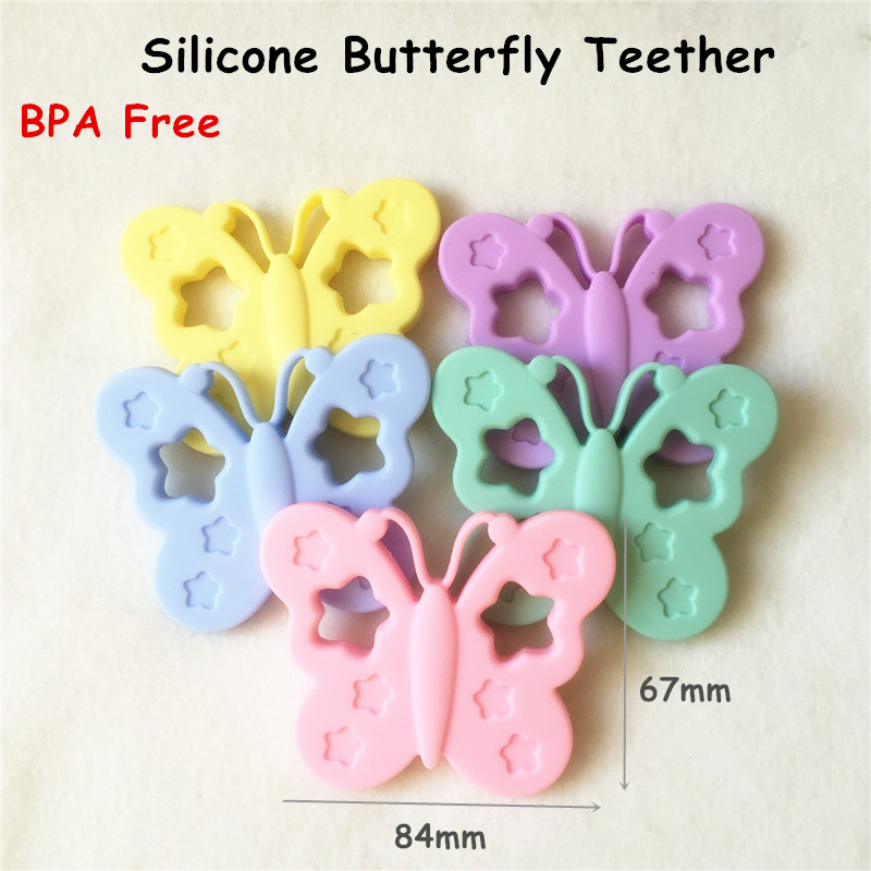 Chenkai 5PCS BPA Free Silicone Butterfly Teether Chewable Pendant Nursing Necklace Jewelry DIY Baby Shower Dummy Teether Toy