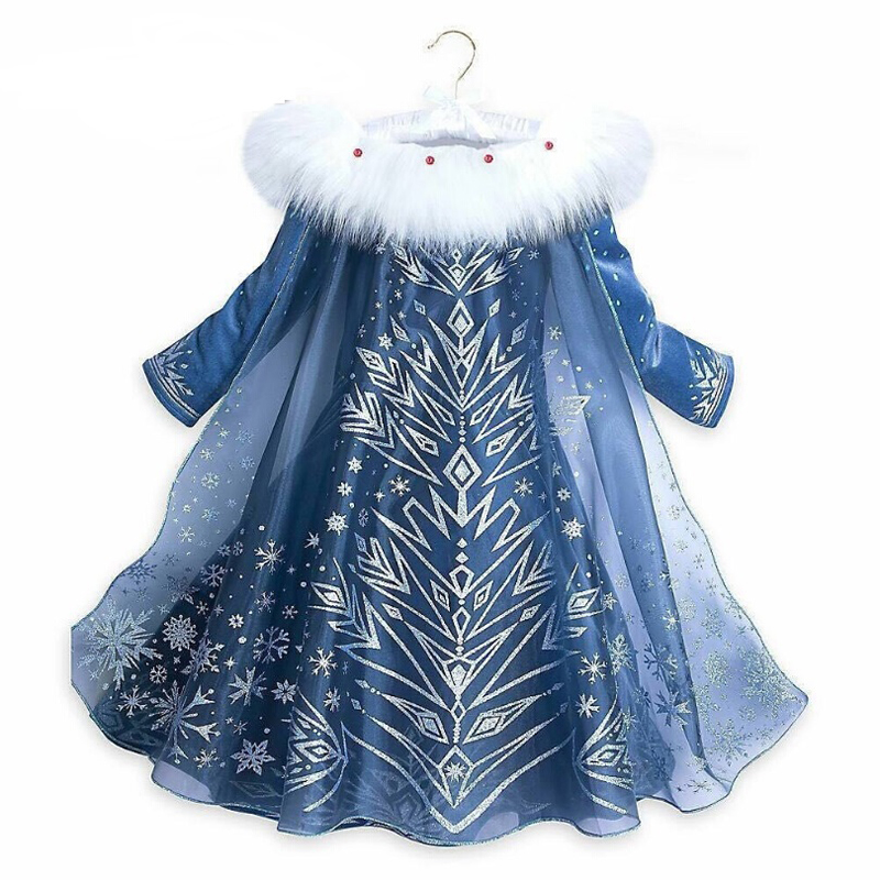 2018 New 3-10y Autumn Winter Girl Printing Princess Anna Elsa Dress Cute Girl Party Christmas Dress for kids Cosplay Costume