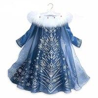 2018 New 3 10y Autumn Winter Girl Printing Princess Anna Elsa Dress Cute Girl Party Christmas