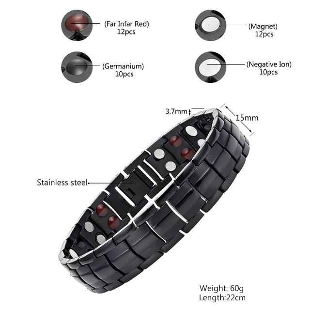 Trendy 4in1 Magnetic Health Stainless Steel Men Bracelet