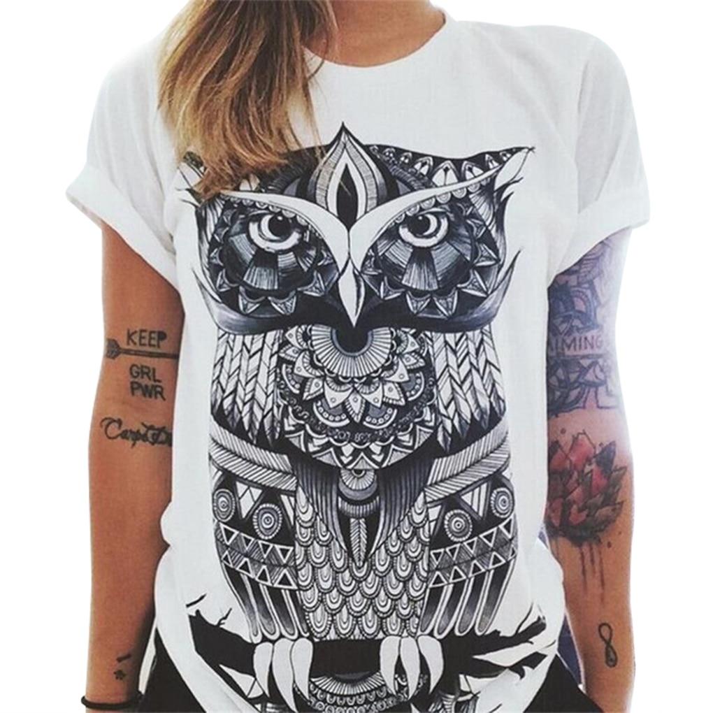 New Style Summer Fashion Women Owl/Letters /eye Print T-shirt Loose Round Neck Short-sleeved Harajuku Retro T-shirt