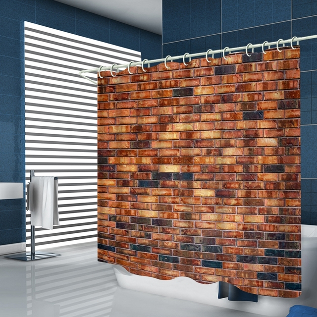Waterproof Bathroom Red Brick Wall Shower Curtain Polyester Fabric
